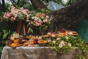 Florals Table Linen and Charcuterie Buffet