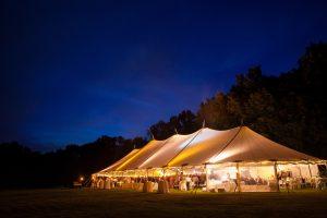 Pole tent at night