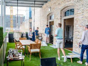 Game rentals on outdoor rooftop patio