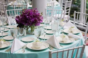 Beautifully set table for wedding or event