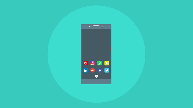 Phone illustration with apps for networking